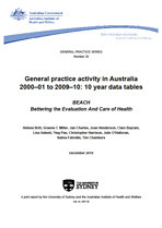 General practice activity in Australia 2000–01 to 2009–10: 10 year data tables